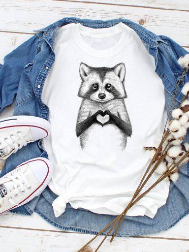T-shirt biały Raccoon loves you ZUZU