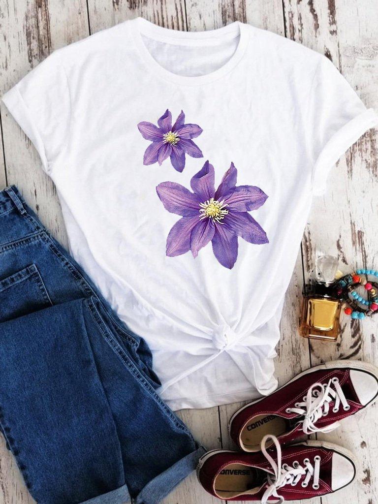 T-shirt biały Powojnik Love&Live