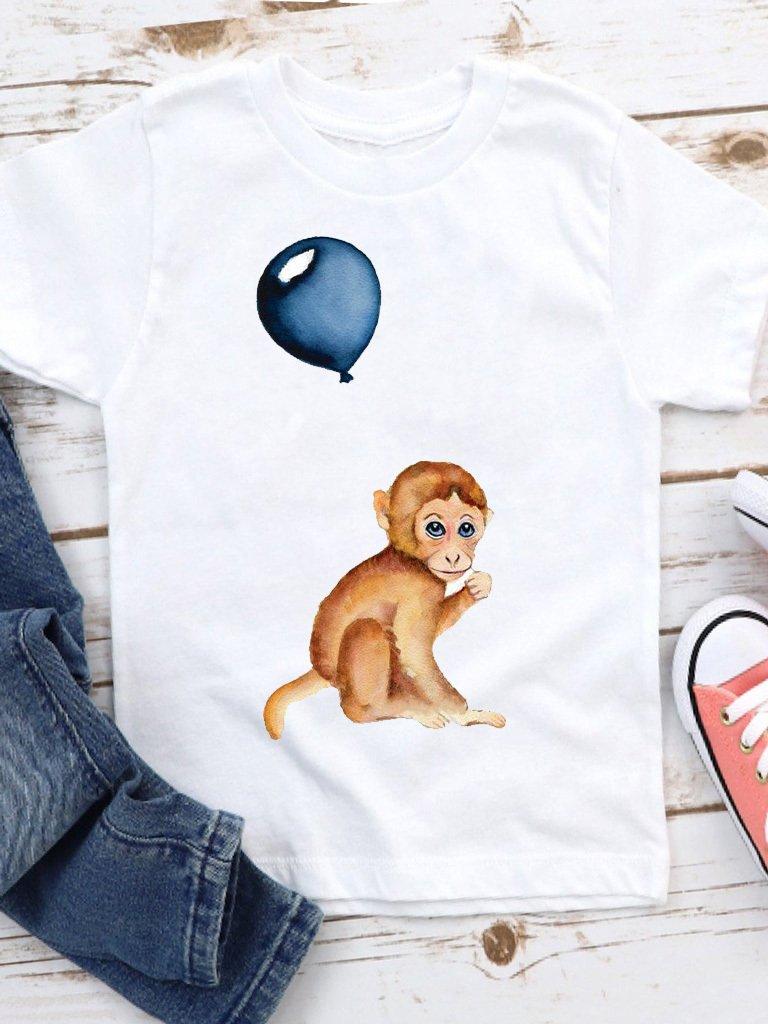T-shirt biały dla dzieci Małpa Love&Live