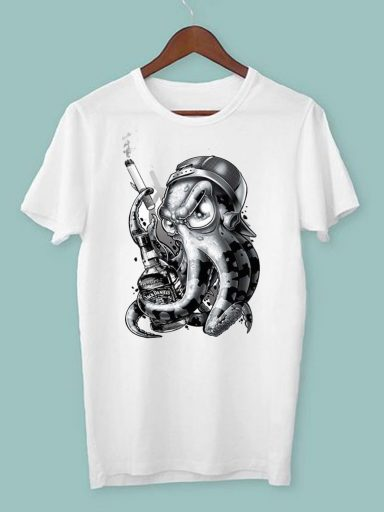 T-shirt męski biały Octopus ZUZU