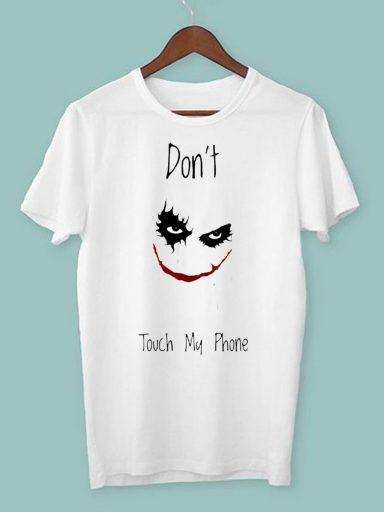 T-shirt męski biały Don't touch my phone ZUZU