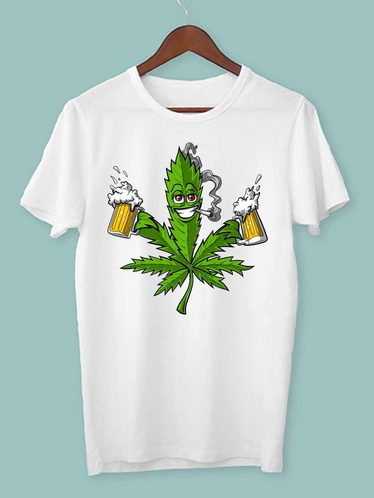 T-shirt męski biały Canabis&beer ZUZU