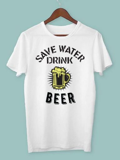T-shirt męski biały Drink beer ZUZU