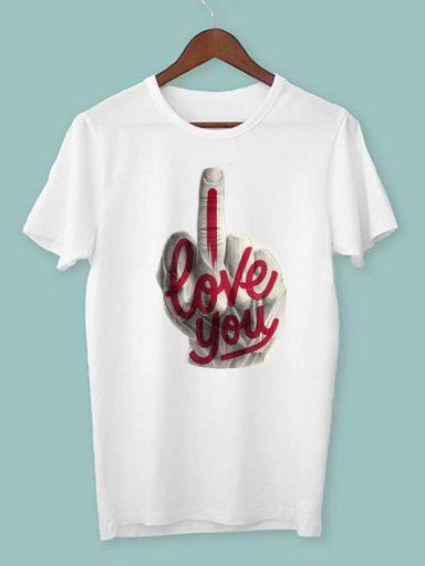 T-shirt męski biały I fuckin love you ZUZU