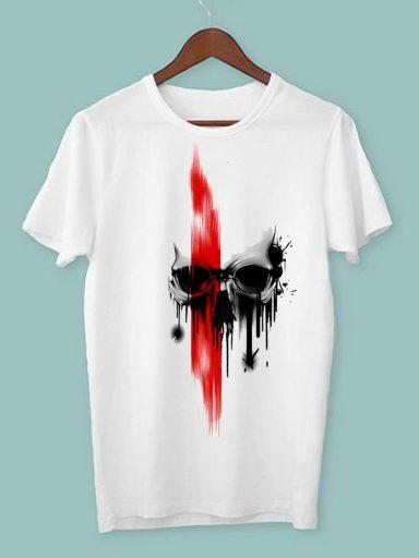T-shirt męski biały Czerwień na czaszce ZUZU