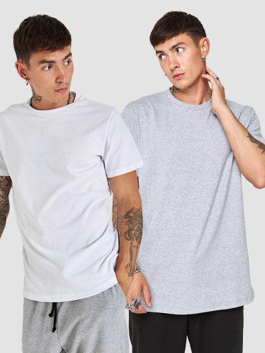 Zestaw t-shirtów z okrągłym dekoltem (biały, szary) Love&Live