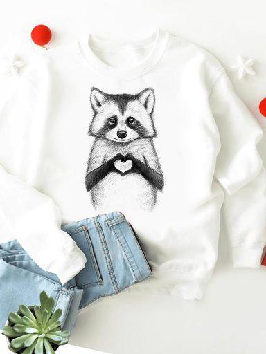 Bluza w kolorze białym Raccoon loves you ZUZU