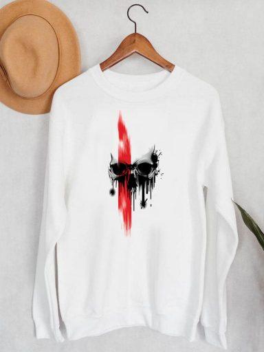 Bluza męska w kolorze białym Czerwień na czaszce ZUZU