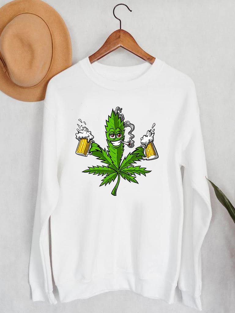 Bluza męska w kolorze białym Canabis&beer ZUZU