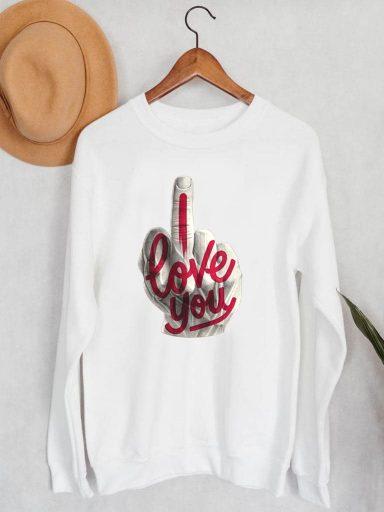 Bluza męska w kolorze białym I fuckin love you ZUZU (zdjęcie 13)