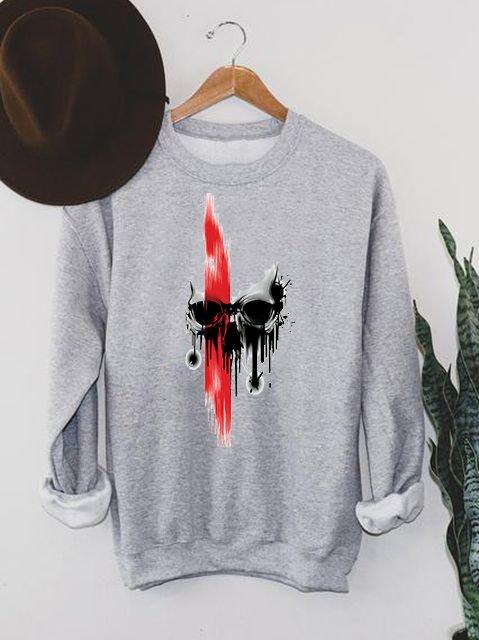 Bluza męska w kolorze szarym Czerwień na czaszce ZUZU
