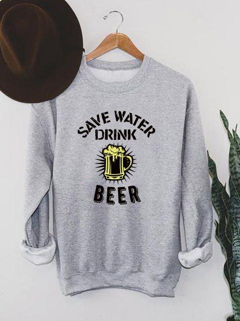 Bluza męska w kolorze szarym Drink beer ZUZU