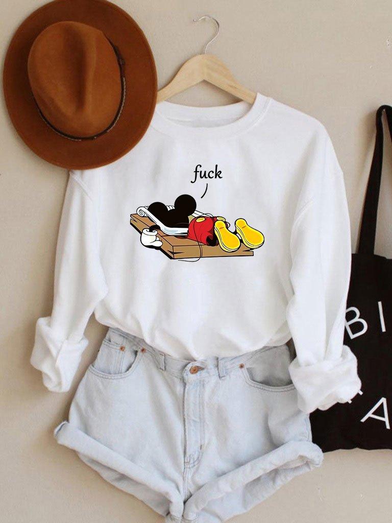 Bluza w kolorze białym Mickey fuck Love&Live