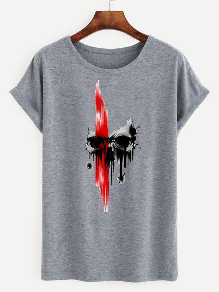 T-shirt męski szary Czerwień na czaszce ZUZU