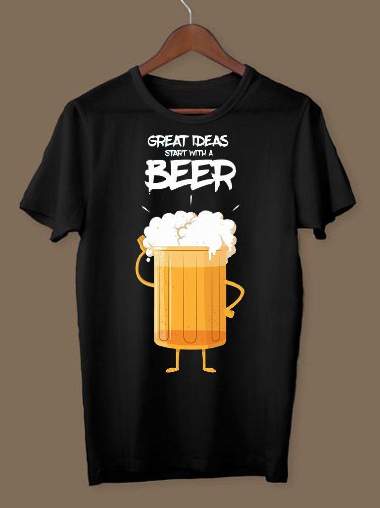 T-shirt męski czarny Great ideas ZUZU