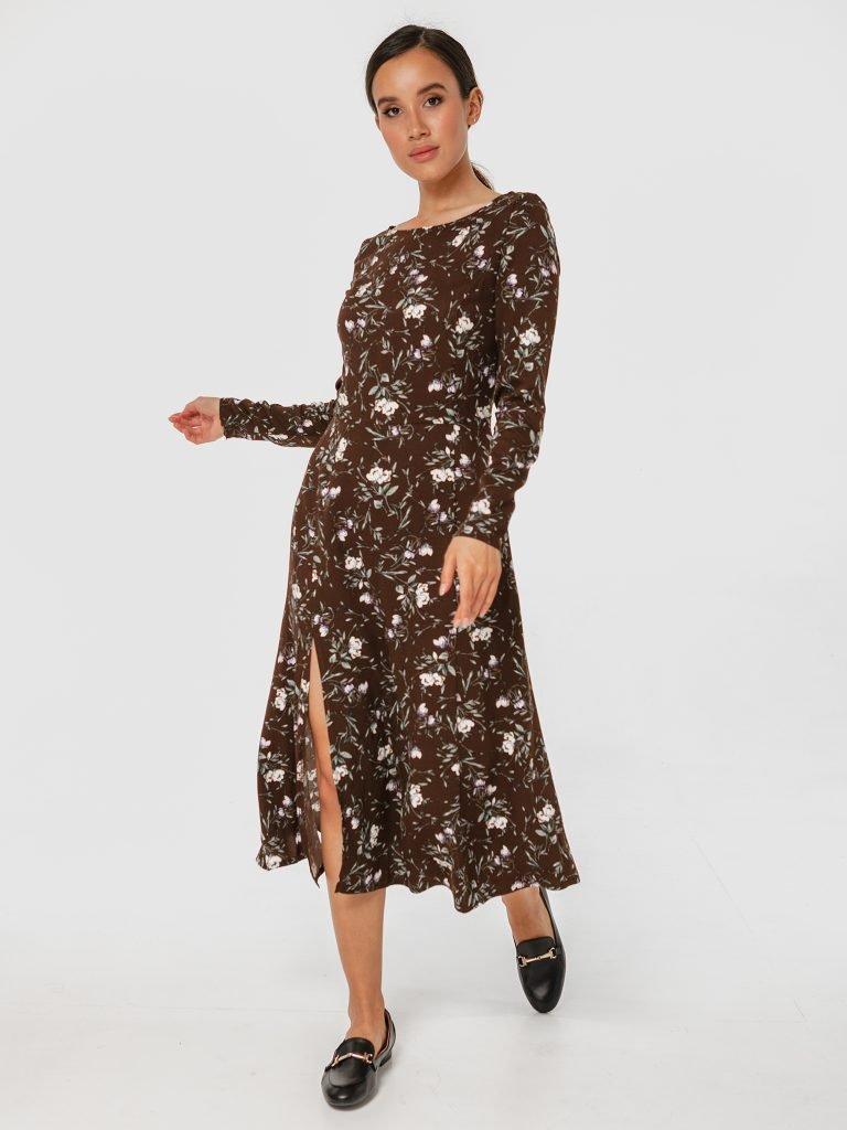 Sukienka midi brązowa w kwiatowy print z rozcięciem Love&Live