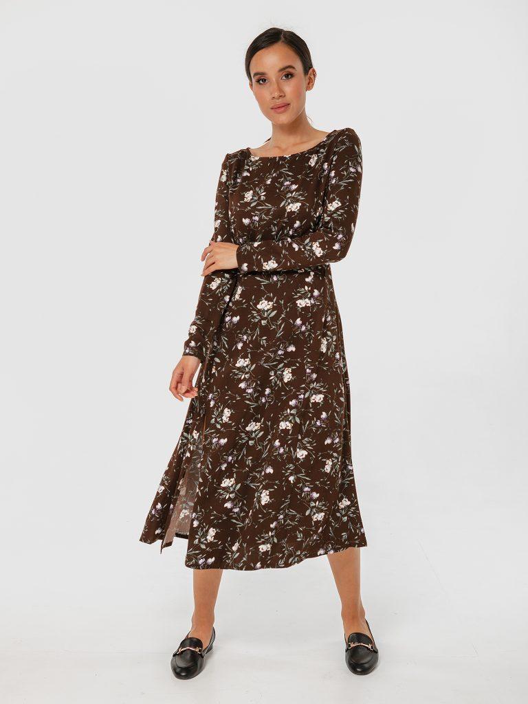 Sukienka midi brązowa w kwiatowy print z rozcięciem Love&Live (zdjęcie 2)