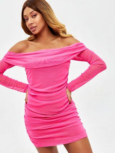 Sukienka mini w kolorze malinowym z siatki z odkrytymi plecami Love&Live
