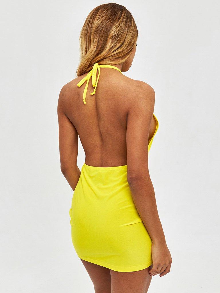 Sukienka mini w kolorze żółtym z odkrytymi plecami Love&Live (zdjęcie 4)