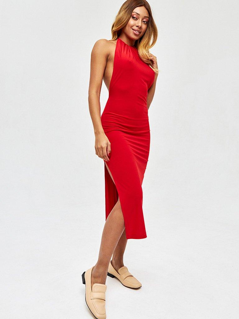 Sukienka midi w kolorze czerwonym z odkrytymi plecami Love&Live (zdjęcie 3)