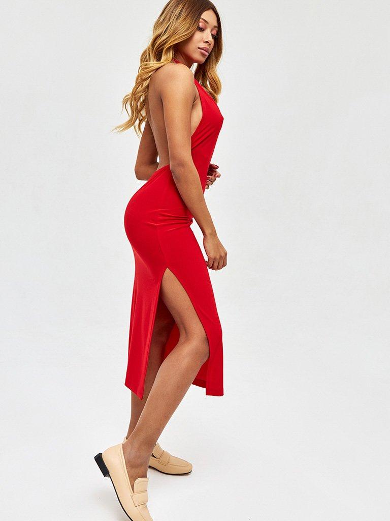 Sukienka midi w kolorze czerwonym z odkrytymi plecami Love&Live (zdjęcie 2)