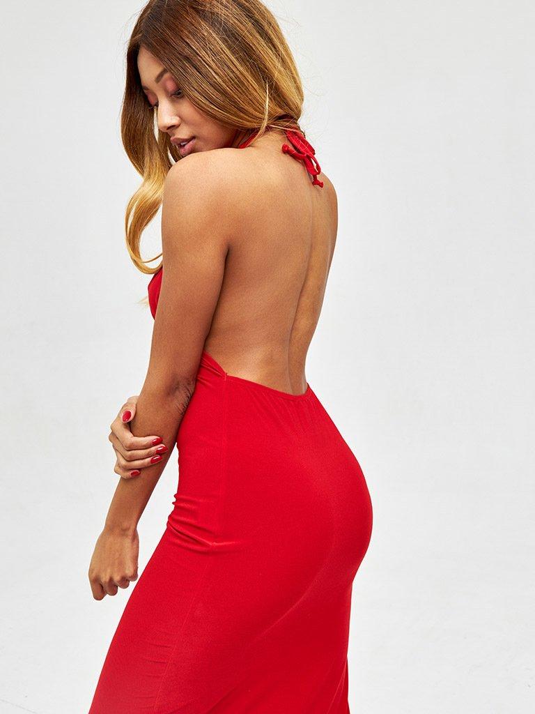 Sukienka midi w kolorze czerwonym z odkrytymi plecami Love&Live (zdjęcie 4)