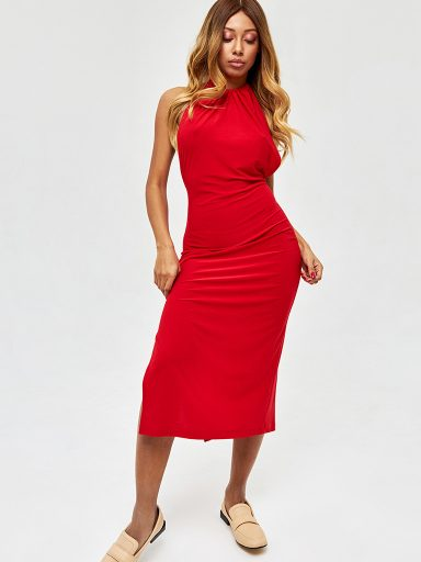 Sukienka midi w kolorze czerwonym z odkrytymi plecami Love&Live