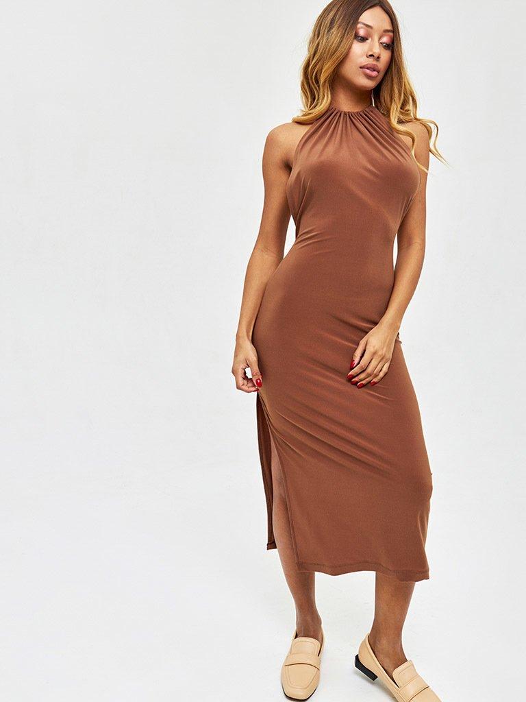 Sukienka midi w kolorze czekoladowym z odkrytymi plecami Love&Live (zdjęcie 2)