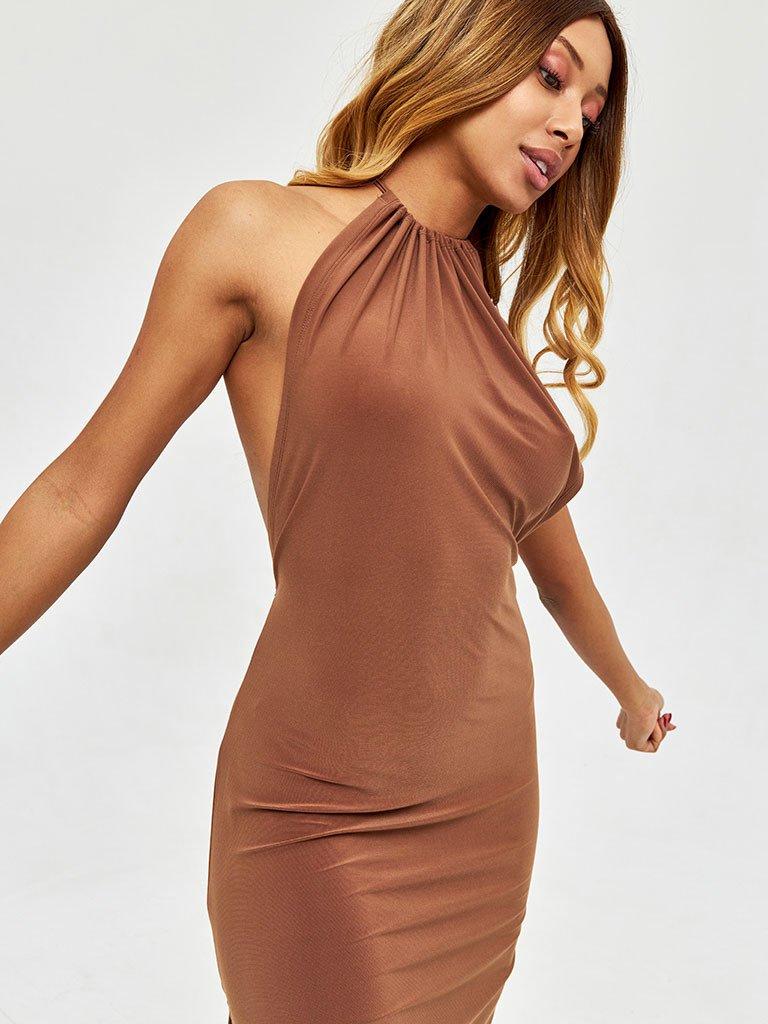 Sukienka midi w kolorze czekoladowym z odkrytymi plecami Love&Live (zdjęcie 3)