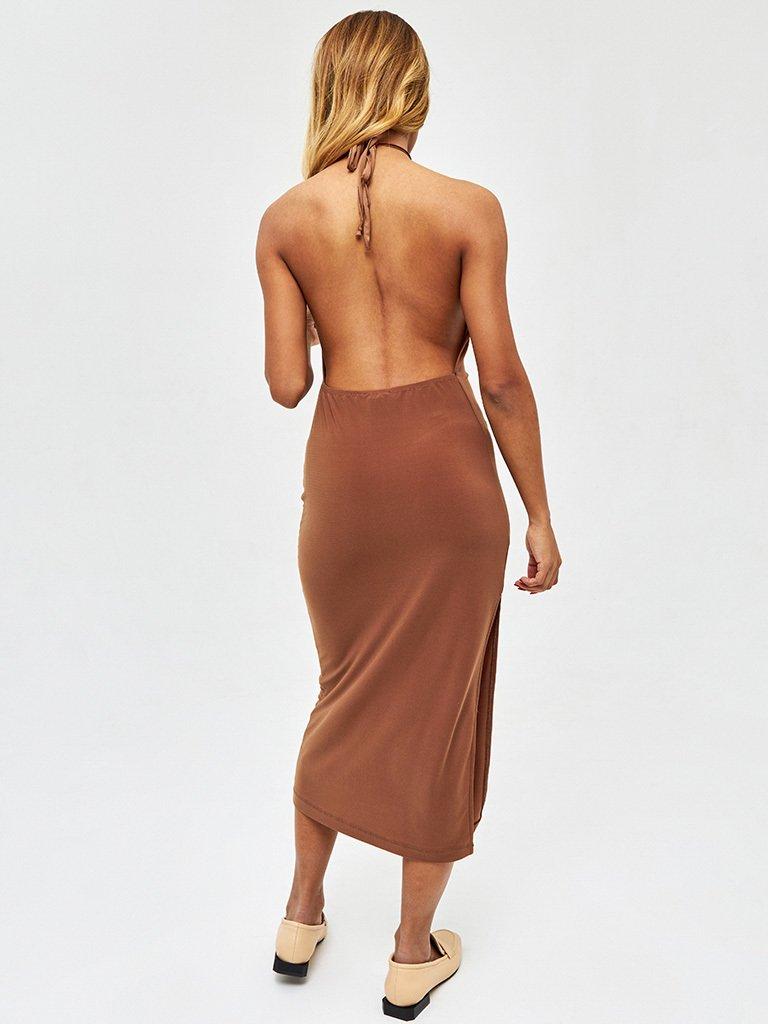 Sukienka midi w kolorze czekoladowym z odkrytymi plecami Love&Live (zdjęcie 4)