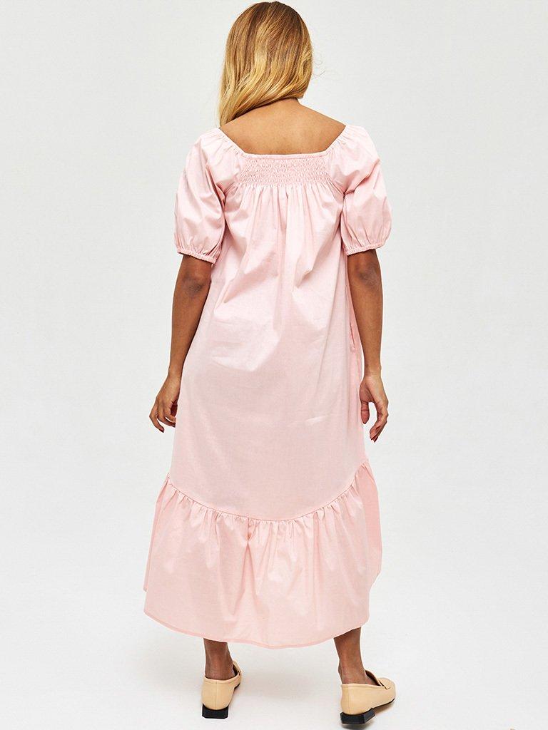 Pudrowa sukienka midi z bufiastymi rękawami Katarina Ivanenko (zdjęcie 4)