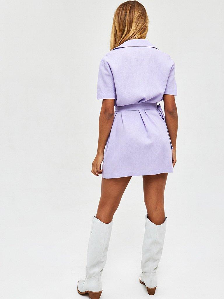 Sukienka koszulowa mini lniana fioletowa Love&Live (zdjęcie 3)