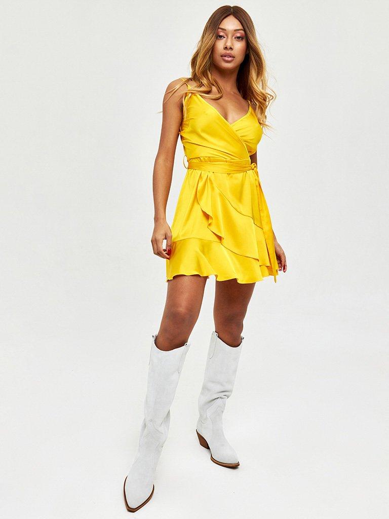 Złota sukienka mini z efektem zapachu Love&Live (zdjęcie 2)
