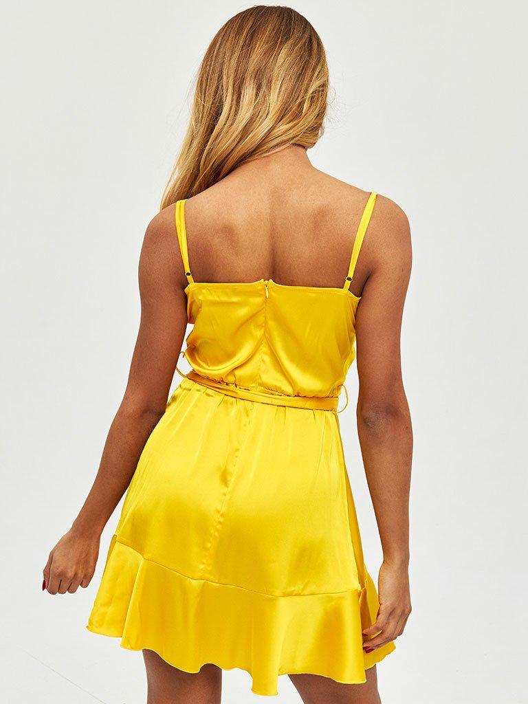 Złota sukienka mini z efektem zapachu Love&Live (zdjęcie 4)