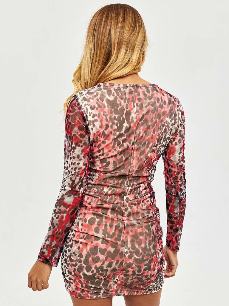 Sukienka midi w kolorze beżowym printowa ze ściągaczem Katarina Ivanenko (zdjęcie 3)