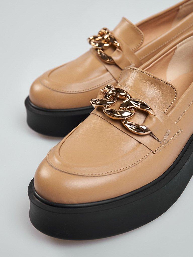 Beżowe skórzane buty z łańcuszkiem na platformie Love&Live (zdjęcie 2)