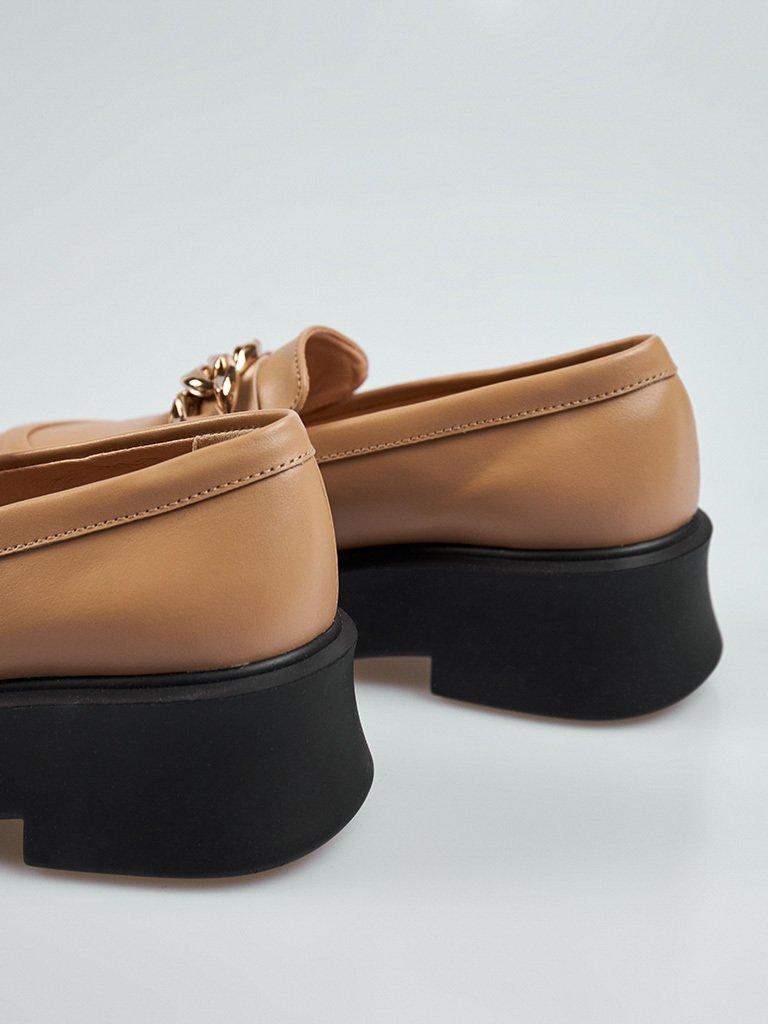 Beżowe skórzane buty z łańcuszkiem na platformie Love&Live (zdjęcie 3)