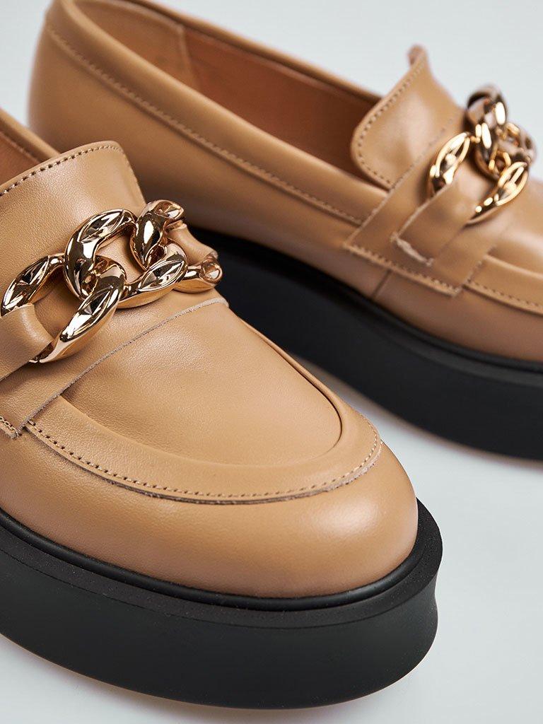 Beżowe skórzane buty z łańcuszkiem na platformie Love&Live (zdjęcie 4)