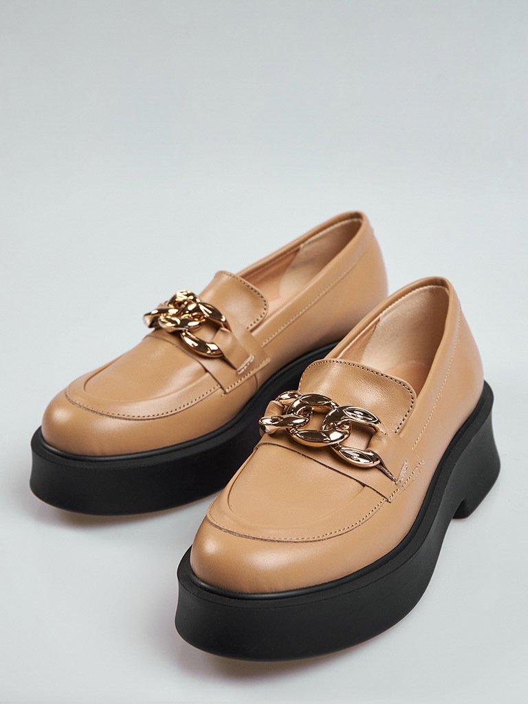 Beżowe skórzane buty z łańcuszkiem na platformie Love&Live