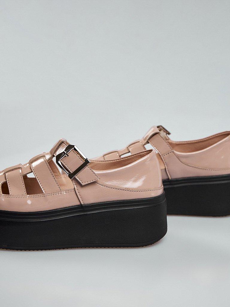 Beżowe skórzane buty na platformie z klamrą Love&Live (zdjęcie 4)