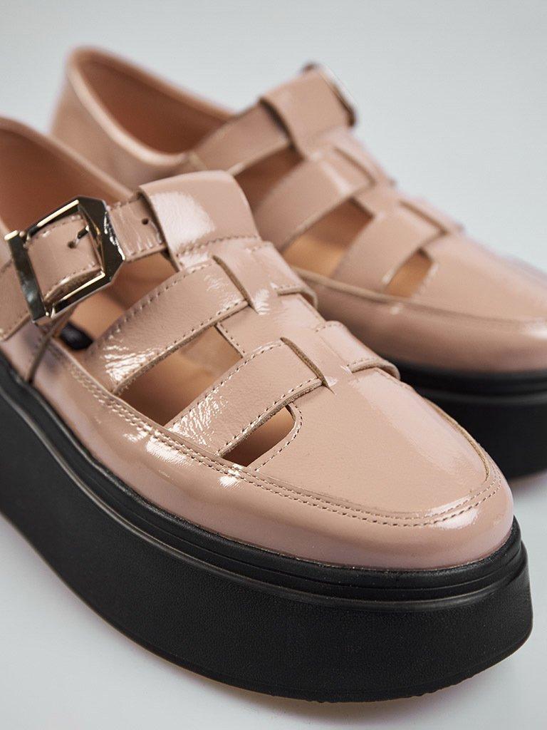 Beżowe skórzane buty na platformie z klamrą Love&Live (zdjęcie 2)