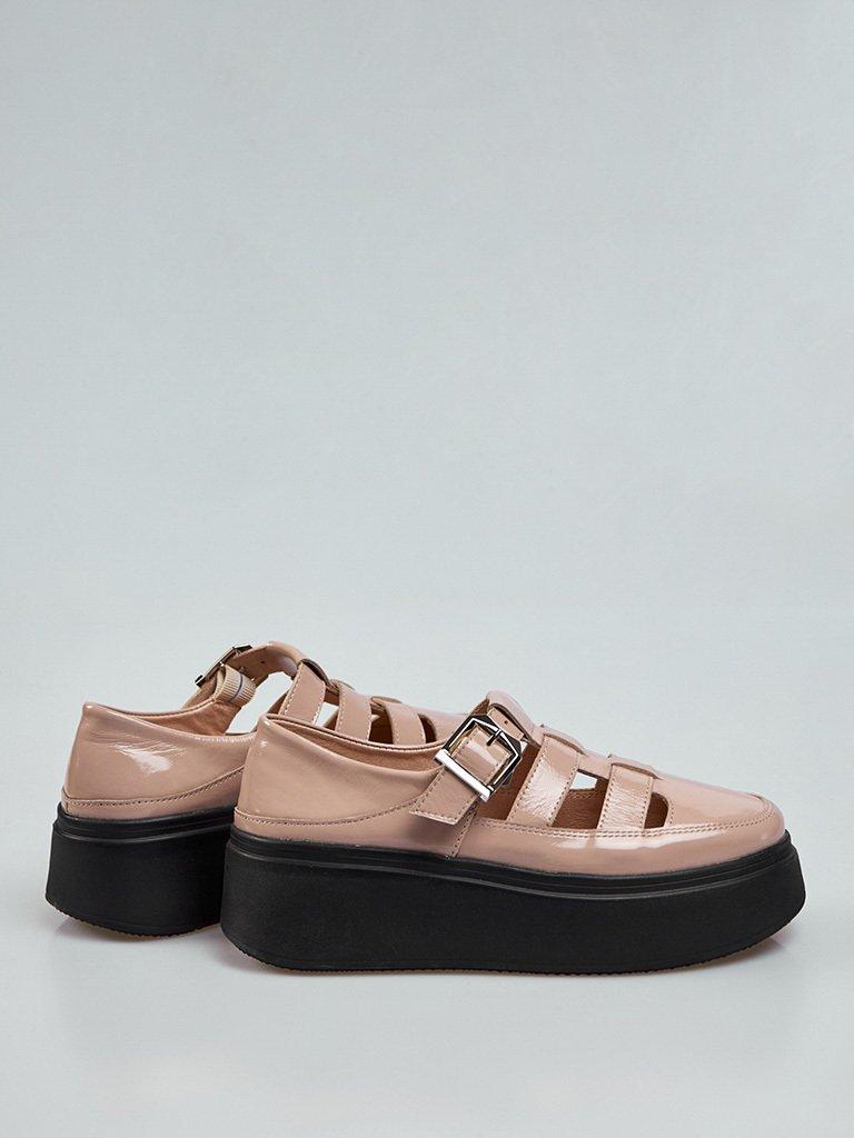Beżowe skórzane buty na platformie z klamrą Love&Live (zdjęcie 3)