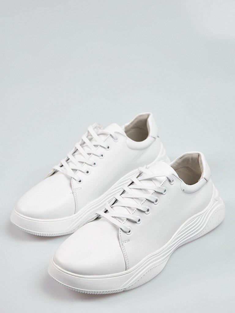 Buty męskie sportowe ze skóry w kolorze białym na obszernej podeszwie Love&Live