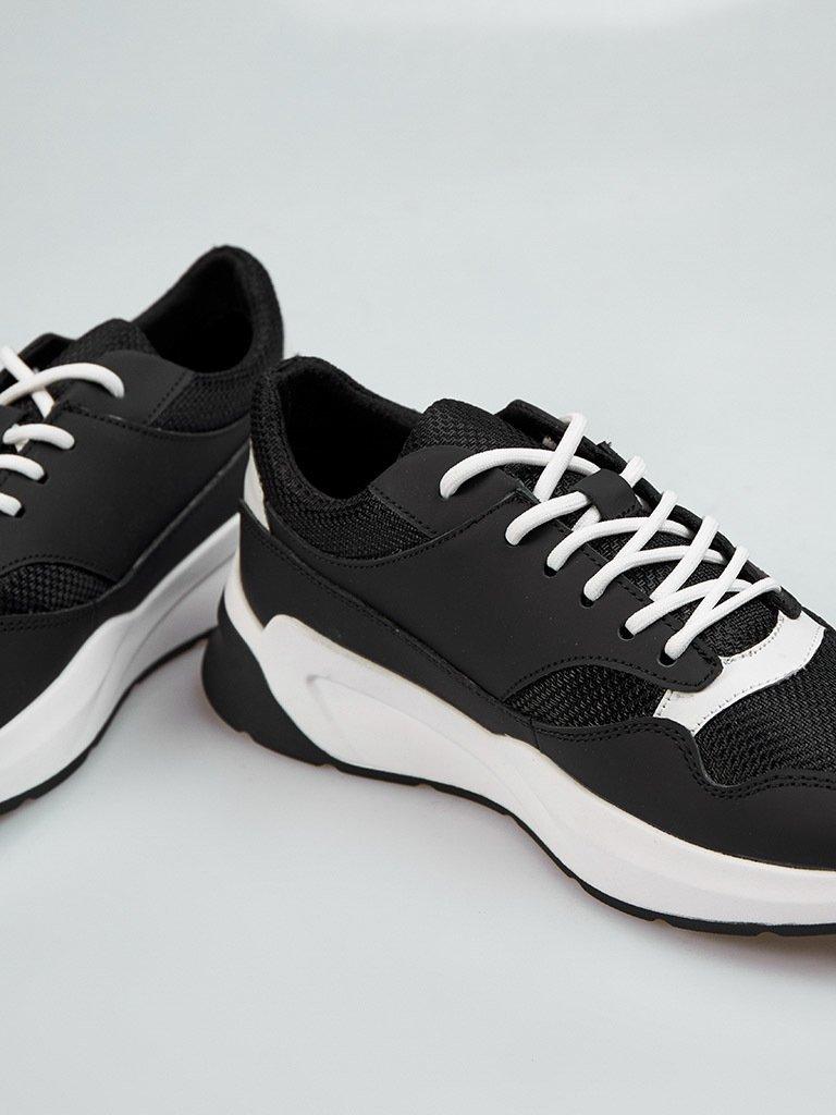 Buty męskie sportowe ze skóry w kolorze czarnym z kontrastowymi wstawkami Love&Live (zdjęcie 2)