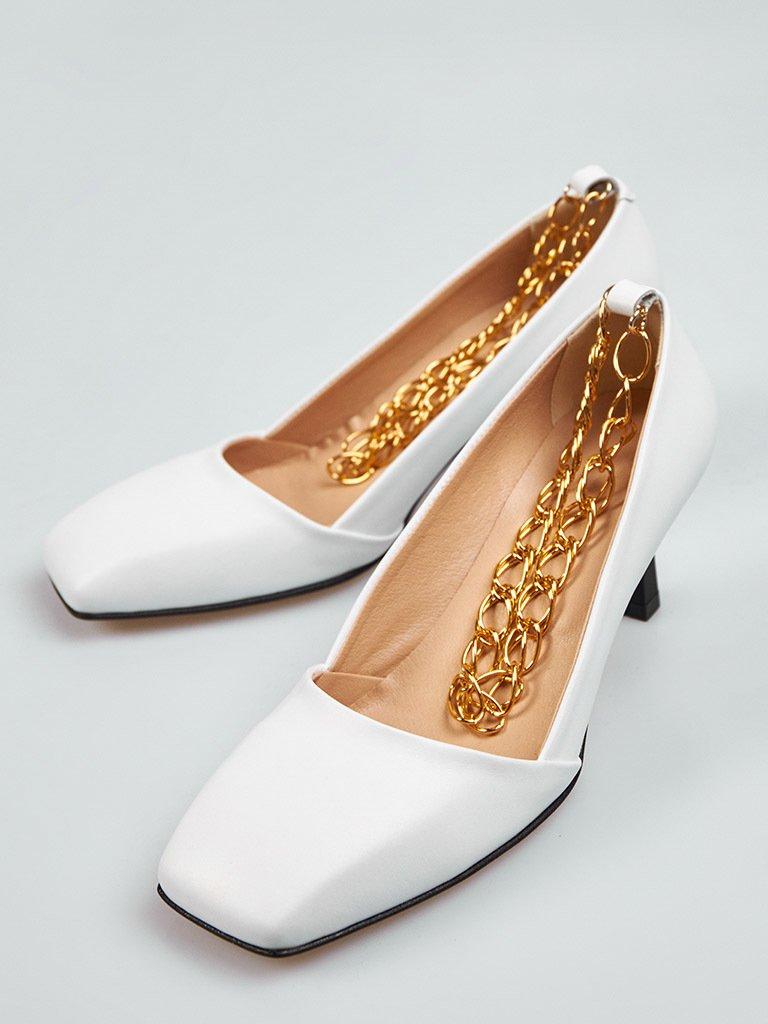 Białe skórzane buty na średnim obcasie z dekoracją Love&Live (zdjęcie 2)