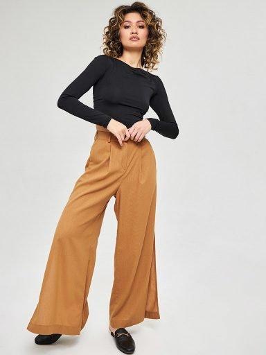 Szerokie spodnie lniane w kolorze mlecznej czekolady Katarina Ivanenko