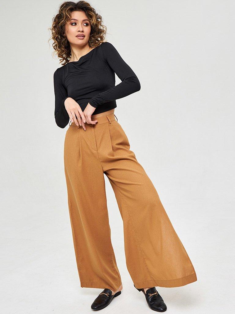 Szerokie spodnie lniane w kolorze mlecznej czekolady Katarina Ivanenko (zdjęcie 4)