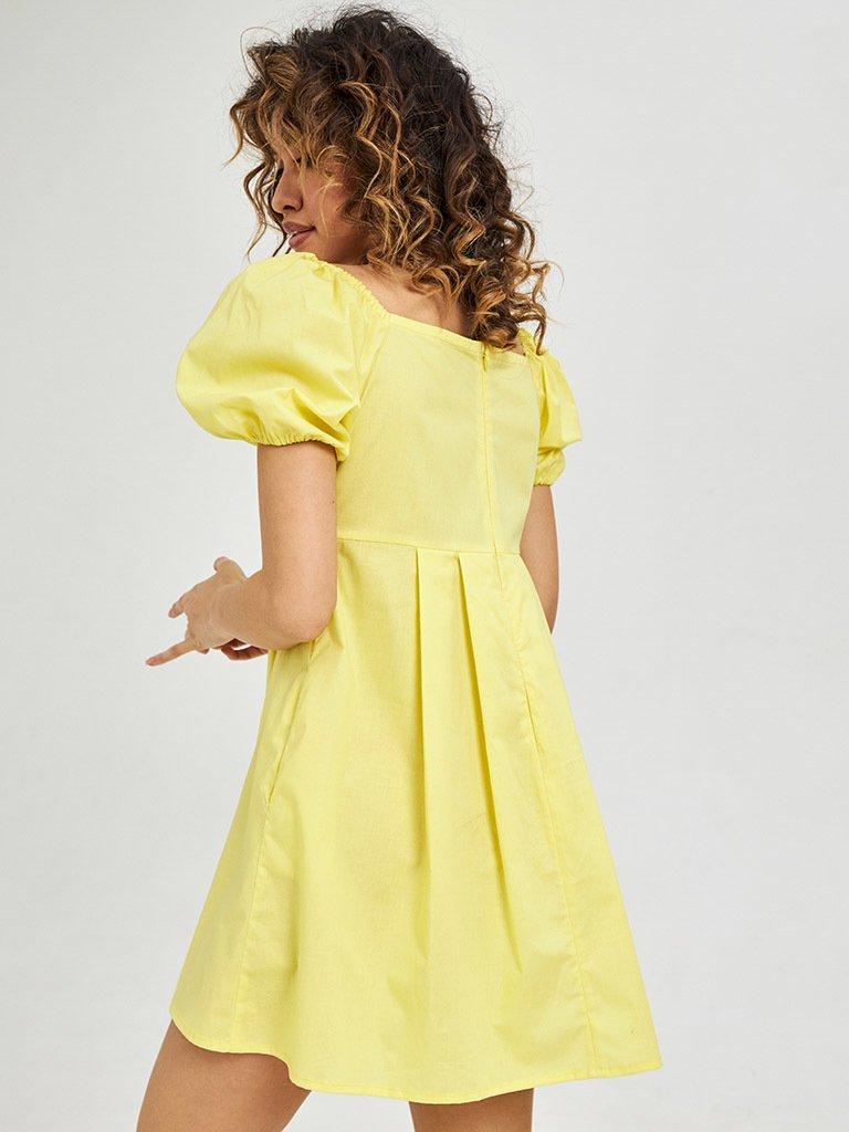 Żółta mini sukienka z bufiastymi rękawami Love&Live (zdjęcie 2)