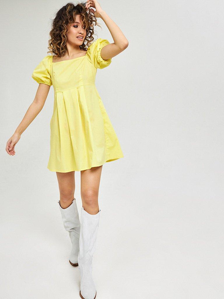 Żółta mini sukienka z bufiastymi rękawami Love&Live (zdjęcie 3)