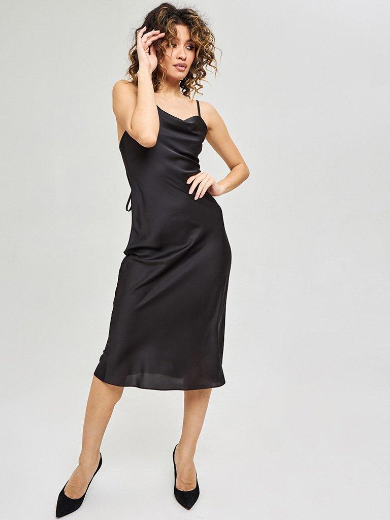 Czarna sukienka midi na ramiączkach z wiązaniem na plecach Katarina Ivanenko (zdjęcie 2)